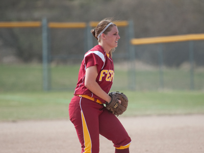 Kayle Stevenson won her seventh straight game in 2-1 game-two decision over Wayne State.  (Photo by Ed Hyde)