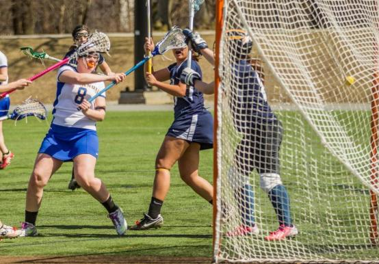 WOMEN'S LAX HOLDS ON FOR 13-12 WIN OVER RIVIER