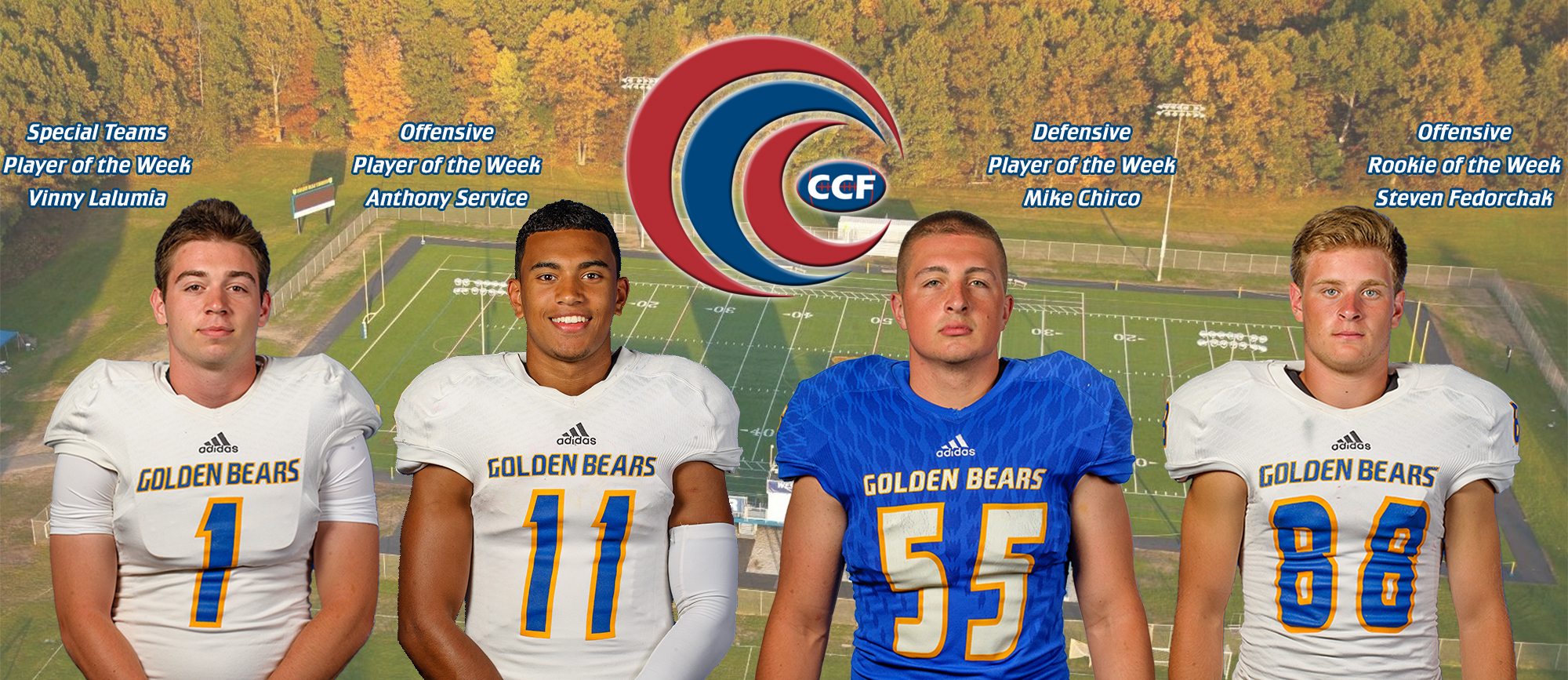 Four Golden Bears Receive CCC Football Weekly Awards