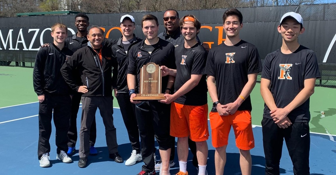 The Kalamazoo College men's tennis team with the 2019 MIAA championship trophy.