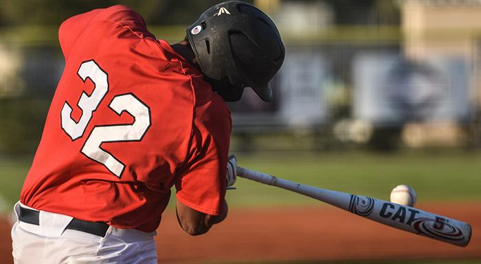 Isaiah Cullum had a home run, a double, three runs, and three RBI as the Eagles beat Santa Fe 17-7. (Photo by Tom Hagerty, Polk State.)
