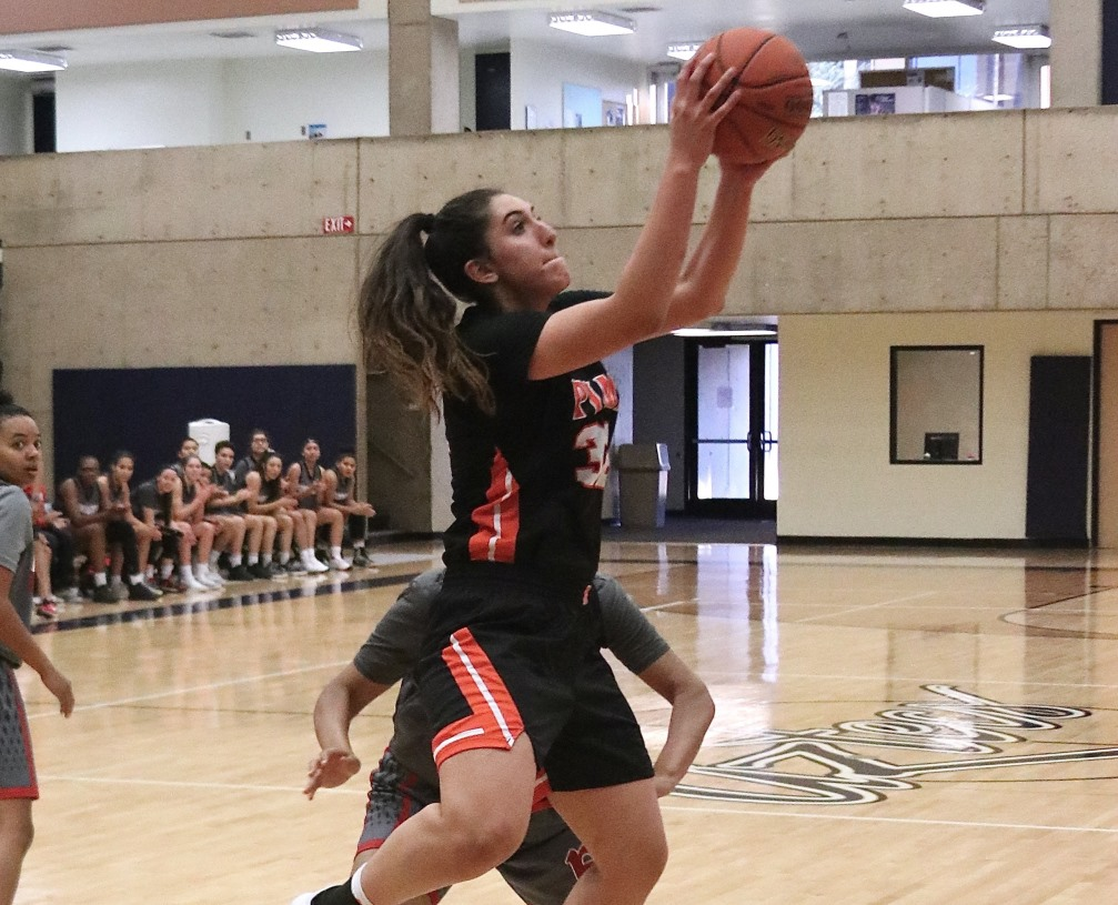 Freshman Marlena Arroyo-Plata (Campo Verde HS) had a double-double of 12 points and 11 rebounds and was part of the Pima bench that scored 52 points. The Aztecs beat South Mountain 108-63 to improve to 8-8 overall and 4-4 in ACCAC conference play. Photo by Stephanie Van Latum