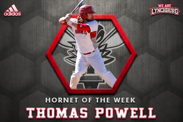 Thomas Powell hitting. Text: Hornet of the Week Thomas Powell