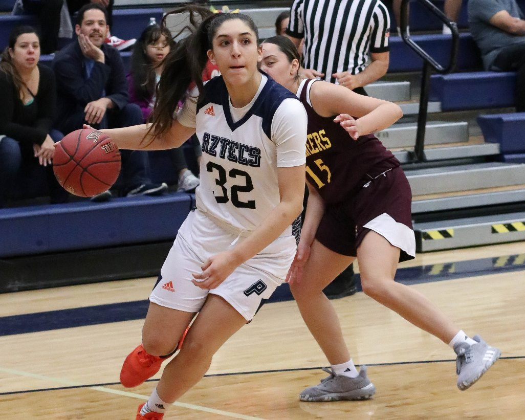 Sophomore Marlena Arroyo-Plata (Campo Verde HS) finished with a double-double of 14 points and 11 rebounds on 5 for 6 shooting as the No. 3 ranked Aztecs women's basketball team dismantled Southwestern College 103-34. The Aztecs are 2-1 on the season. Photo by Stephanie Van Latum