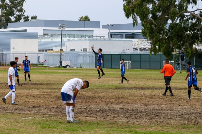 Armando Ibarra, Jr. leaps for joy after scoring his second goal of the game