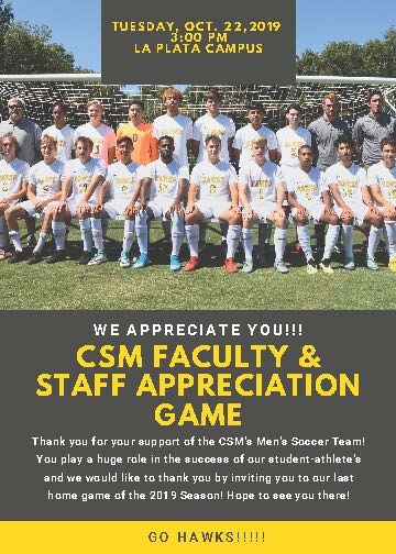 Men's Soccer CSM Faculty & Staff Appreciation Game