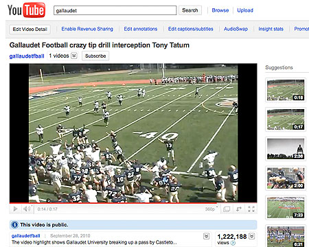 Gallaudet football interception play surpasses 1 million views in two days on YouTube