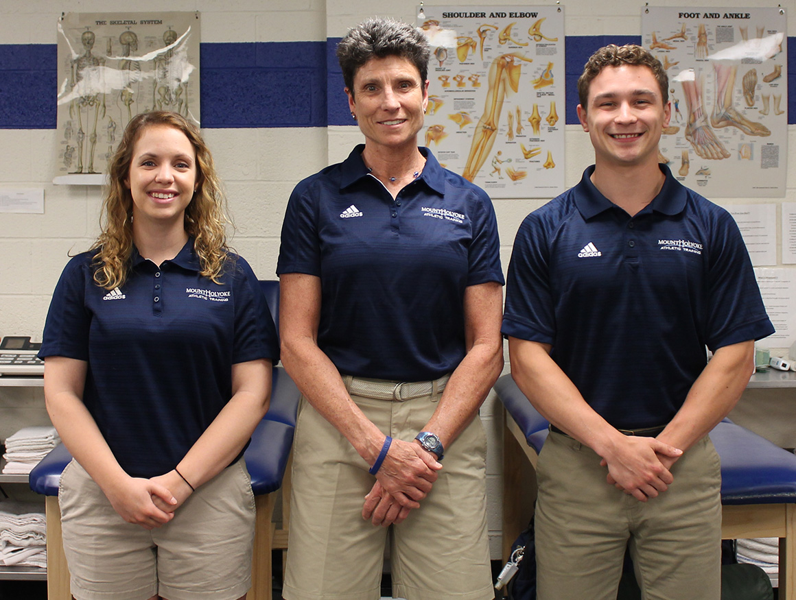 Photo of the MHC Athletic Training Staff, from left to right are Catie LeBlanc, Ellen Perrella and Micah Dion.