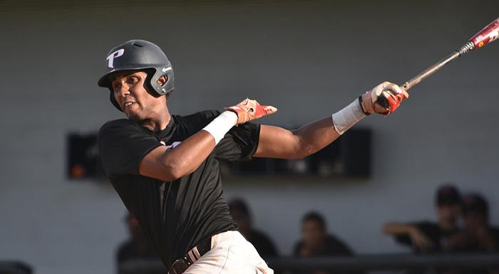 Raudy Martinez had two singles, a double, a walk, an RBI and two runs as the Eagles beat Indian River 13-4. (Photo by Tom Hagerty, Polk State.)