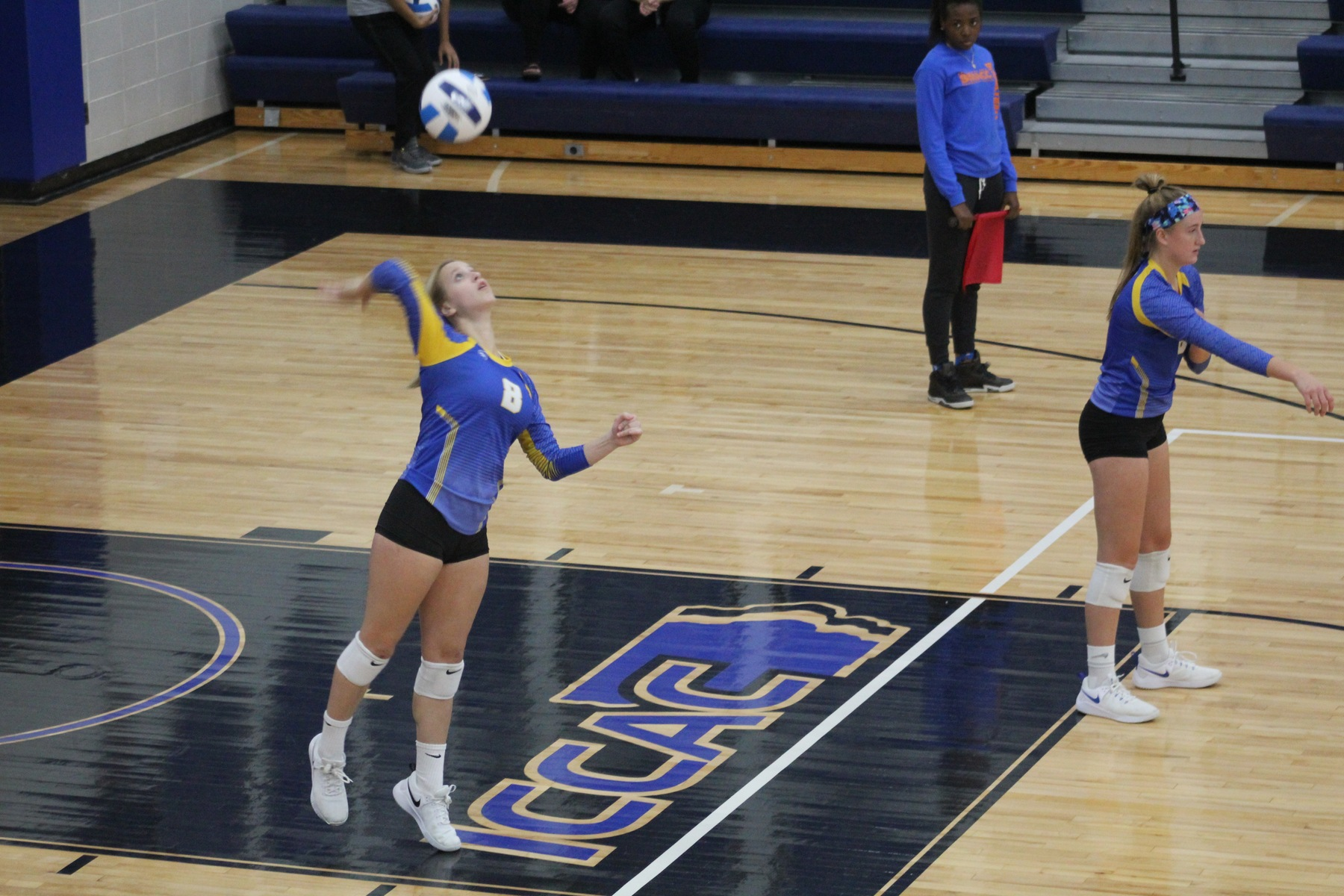 NIACC's Ashley Groe serves during Wednesday's match against DMACC in Boone.