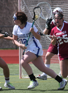 Blue Lacrosse Overpowers New England College