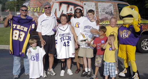 Livingston greets Purple Pride Caravan