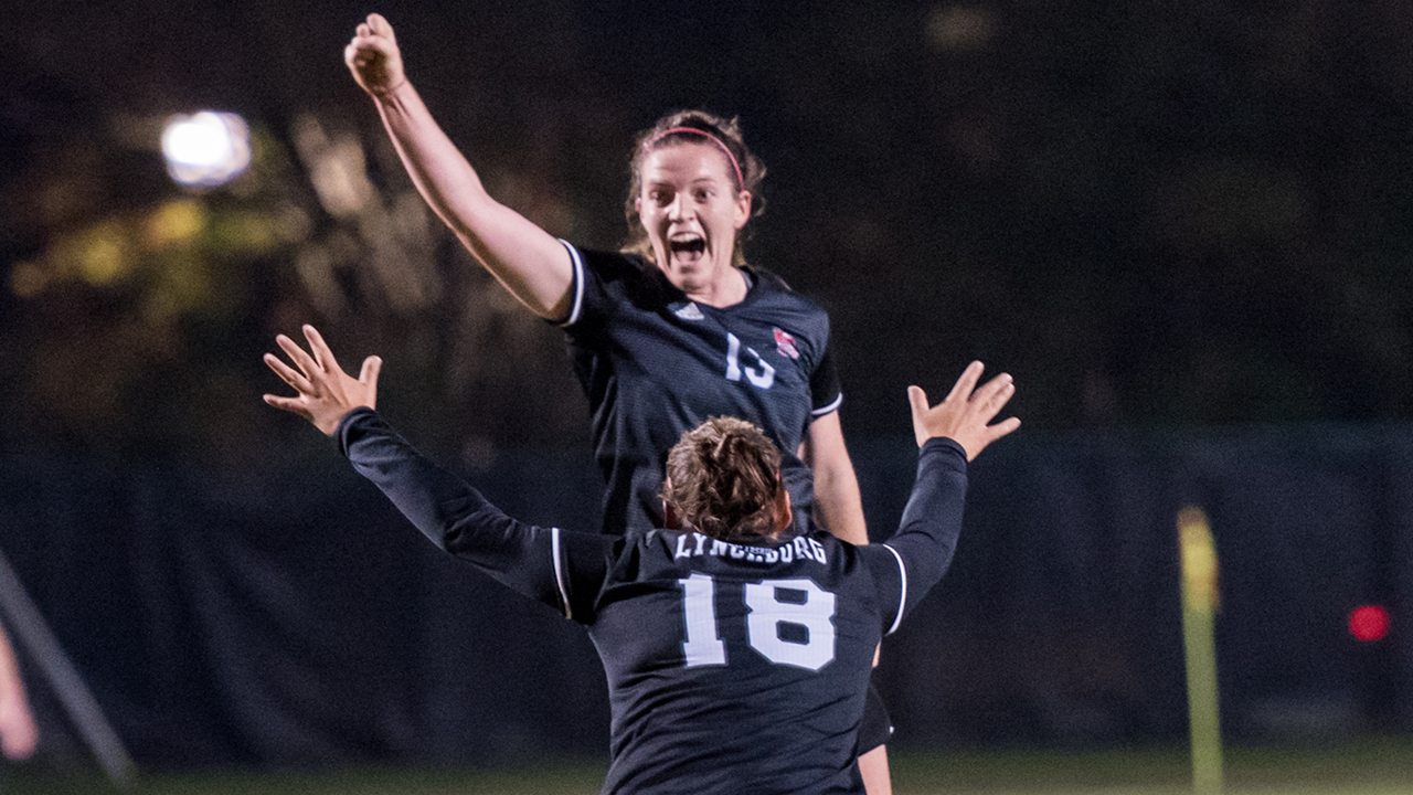 Lynchburg College midfielder Rachel Cooke celebrates her goal (with #18 Brooke Kowalski) in the Hornets' 2-1 win over CNU --- photo courtesy of Hannah Grasberger, Lynchburg College