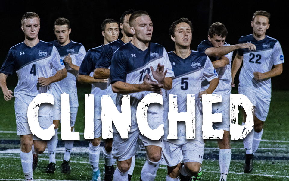 The men's soccer team clinched a Landmark Conference Tournament berth with a 1-0 overtime win at Goucher College.