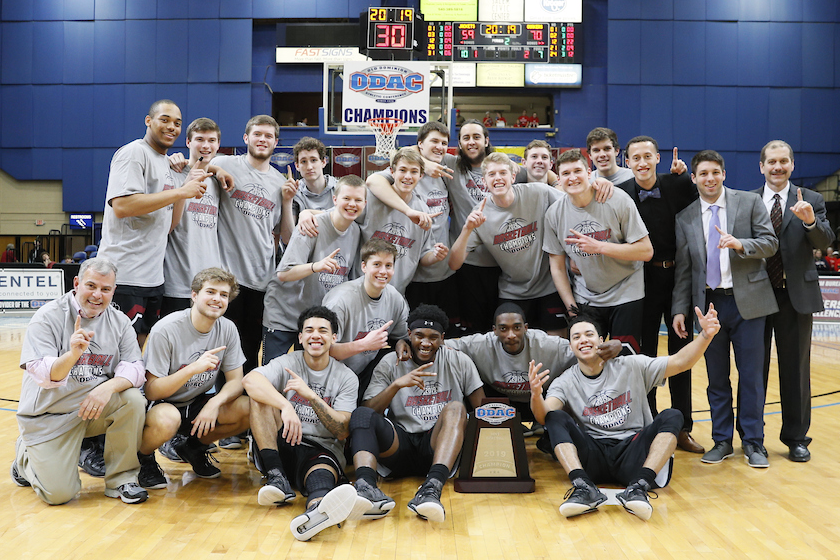 Guilford College, 2019 ODAC Men's Basketball Tournament Champions (photo by Keith Lucas, Sideline Media Productions)