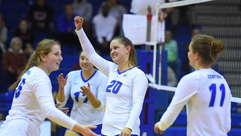 Volleyball Rallies Past Bryant in Five Sets