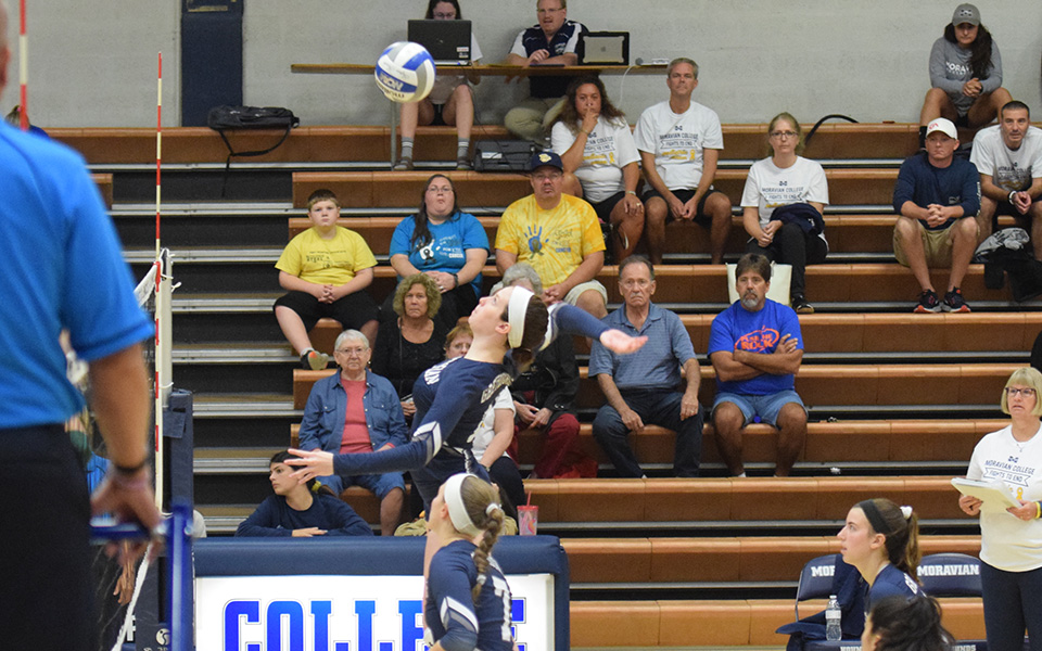 Erin Tiger goes up for an attack attempt versus Farmingdale State College in Johnston Hall.