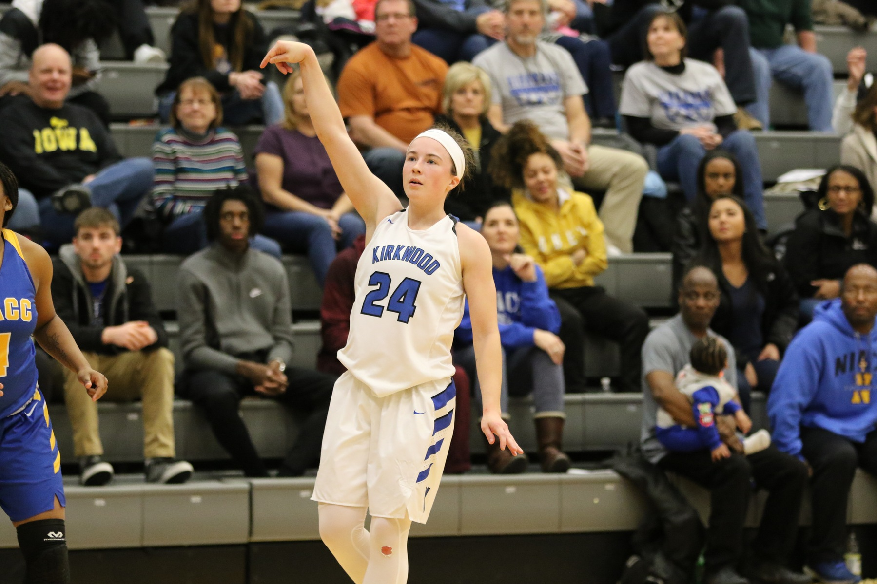Former West Branch prep Haley Mullinnix scored 11 of her 13 points in the first quarter as Kirkwood defeated Ellsworth, 103-48, at Johnson Hall in Cedar Rapids, Iowa, on Thursday, Jan. 31, 2019.