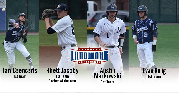 Ian Csencsits '20, Rhett Jacoby '19, Austin Markowski '19 and Evan Kulig '19 named to the Landmark Baseball All-Conference First Team.