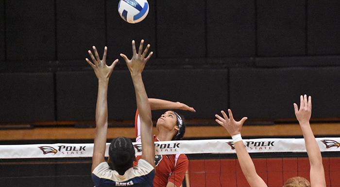 Suheily Colon goes for a kill against Hillsborough. (Photo by Tom Hagerty, Polk State.)