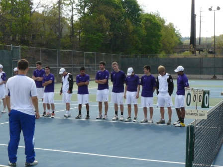 The University of Scranton men's tennis team secured the top seed in the Landmark Conference playoffs with a 9-0 win over Goucher on Sunday.