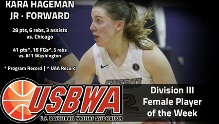 Kara Hageman of CWRU Named USBWA Division III National Player of the Week