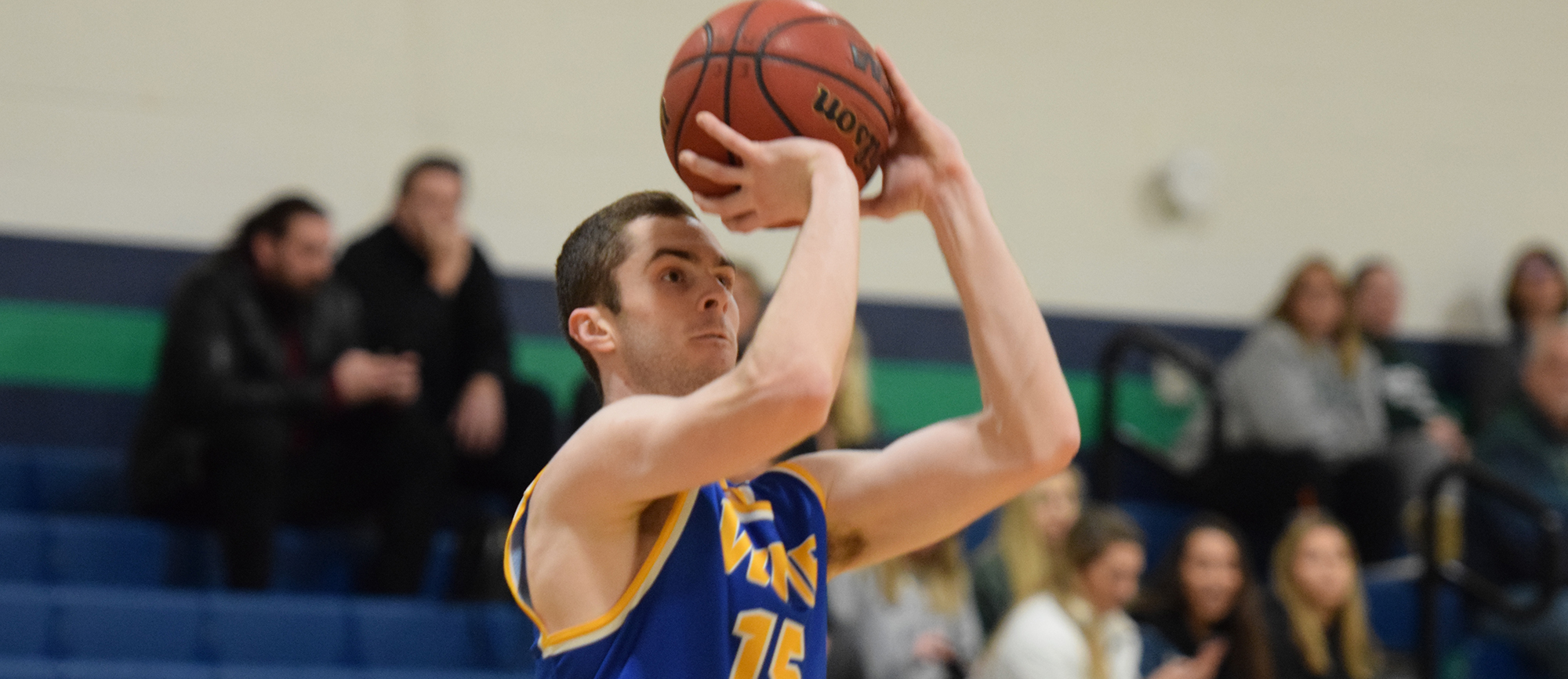 Junior Mike McGuire was among five double-figure scorers with 18 points in Western New England's 97-79 win over Wentworth on Tuesday. (Photo by Rachael Margossian)