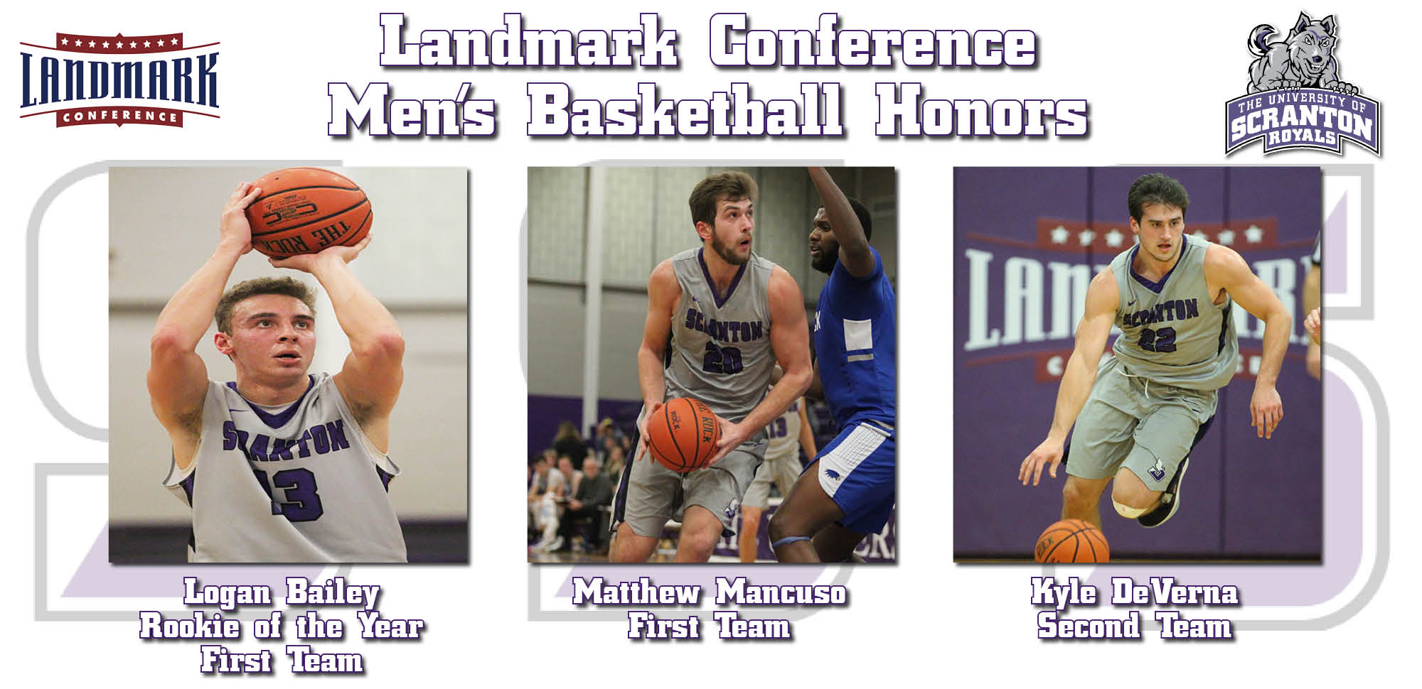 Trio of Men's Basketball Players Earn Year-End Landmark Conference Awards