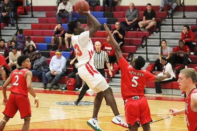 Sindou Diallo connects on two of his 15 points in Mesa's win over Cochise College Wednesday night. (Photo by Aaron Webster)