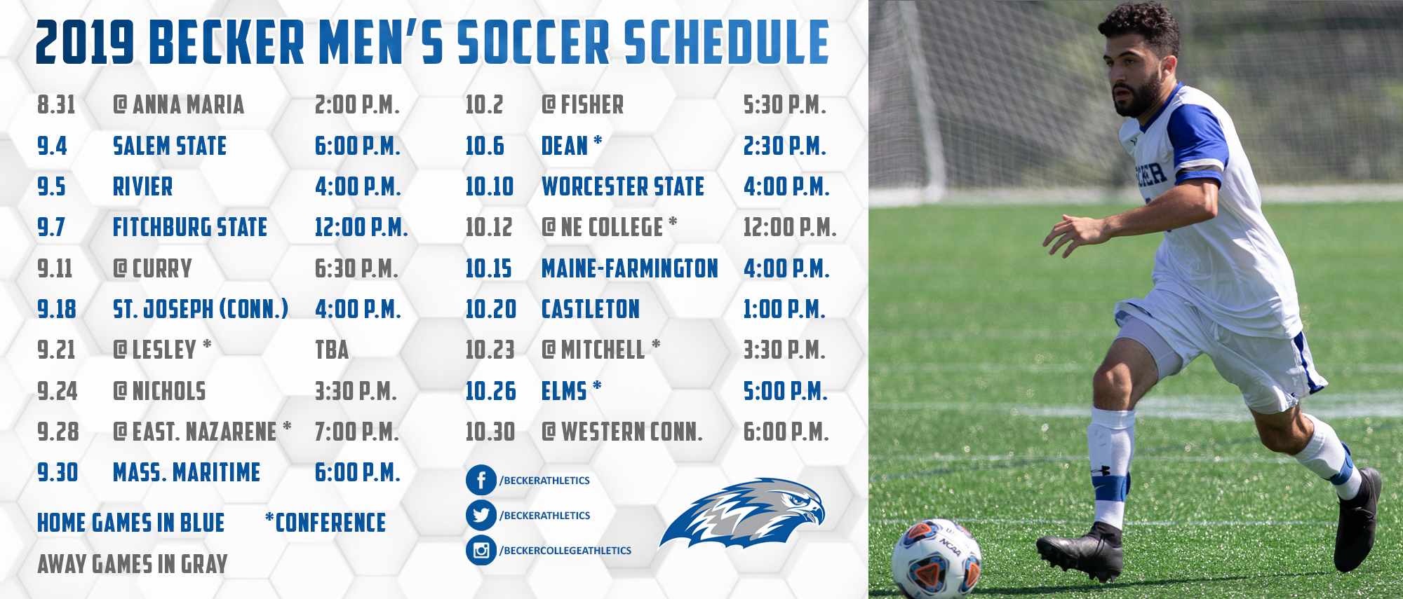 2019 Becker Men's Soccer Schedule