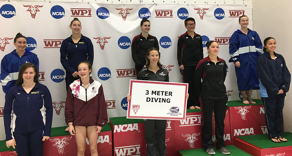 (Front Row; Immediate Right) Samantha Nemivant '20 finishes sixth in the 3-meter diving event at NEWMACs.