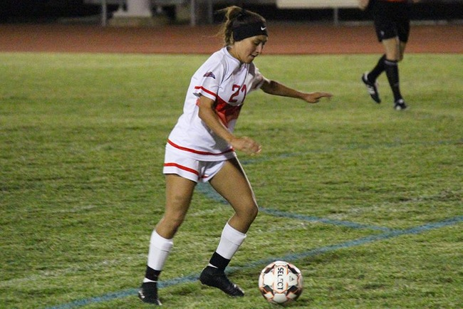 Mayleen Corral scored the winning goal in the second overtime Tuesday night against South Mountain. (Photo by Aaron Webster)