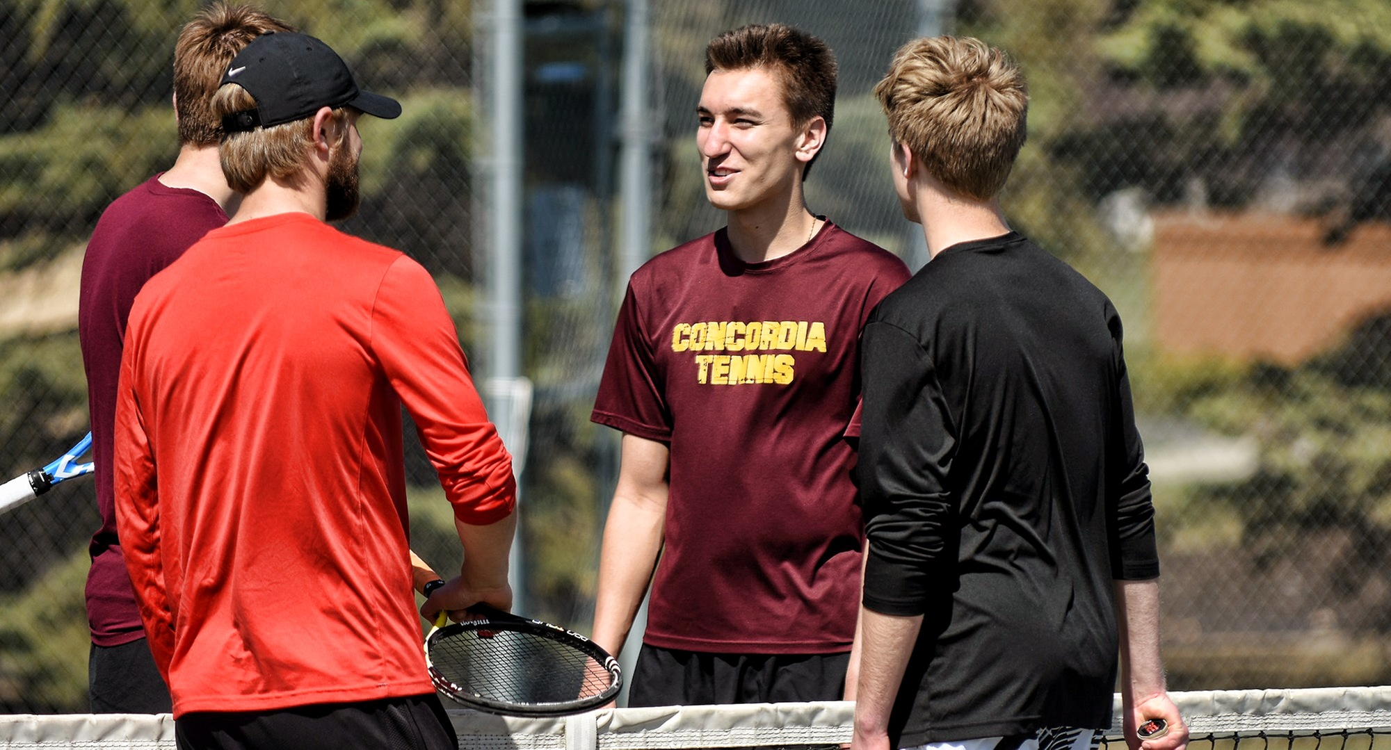 Senior Carter Steffes teamed with freshman Cole Gillespie to earn one of the three doubles wins in the Cobbers' victory over Midway. Gillespie also won in singles play.