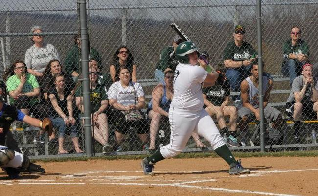 Freshman Mickenzie Palmer drove in three runs in Thursday's non-conference doubleheader sweep of Alfred State (photo courtesy of Ed Webber).