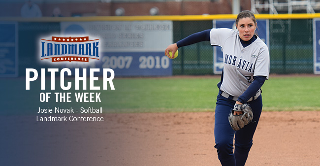 Novak Honored as Landmark Conference Softball Pitcher of the Week for Third Time in 2017