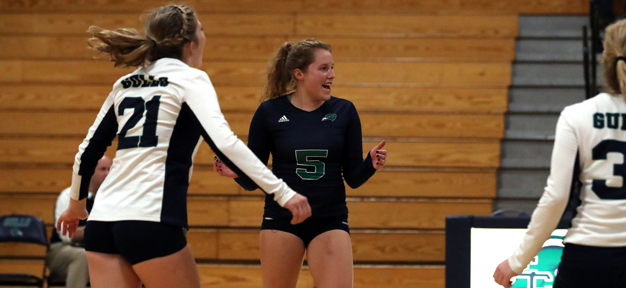 Libero Cydney Pierce led the Endicott defense with 15 digs in the quarterfinal win over Gordon.