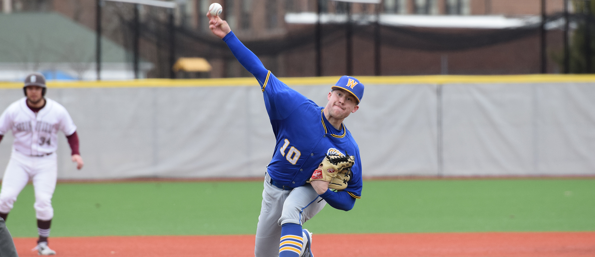 Junior Paul Wetmore struck out eight batters over five shutout innings in Western New England's season-opening loss to Springfield College on Sunday. (Photo by Rachael Margossian)