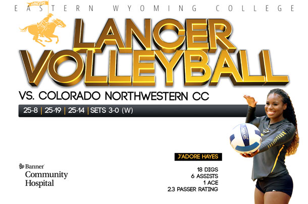 Eastern Wyoming College Lancer Volleyball team vs. Colorado Northwestern Community College