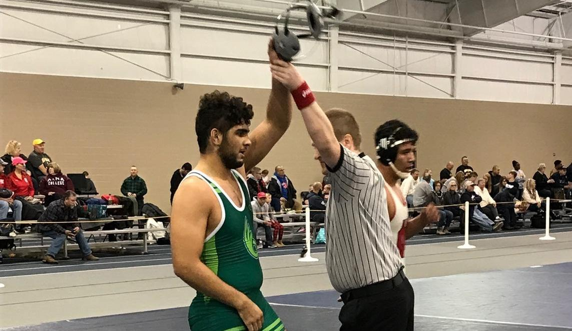 Khalil Records First Win for Wrestling at Trine