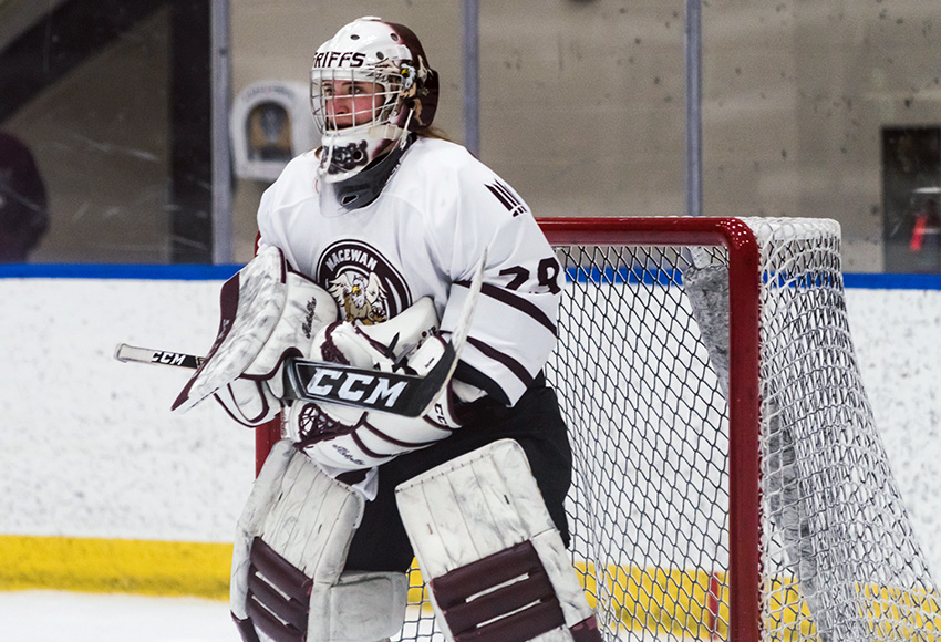 Natalie Bender made 17 saves as the Griffins shut out the visiting Red Deer College Queens 2-0 on Saturday night (Matthew Jacula photo).