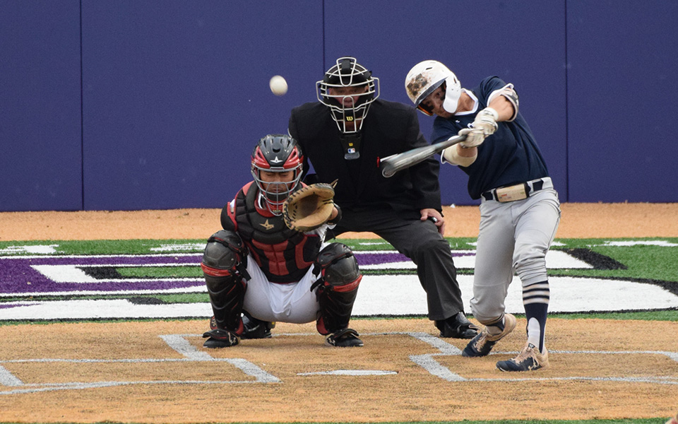 Senior Chase Rogers connects on a triple versus The Catholic University of America during the 2019 Landmark Conference Tournament at The University of Scranton.