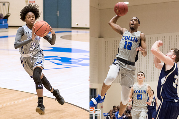 Destiny Thurman (left) and Tajzmel Sherman play in 2018-19 non-conference games for Collin College.