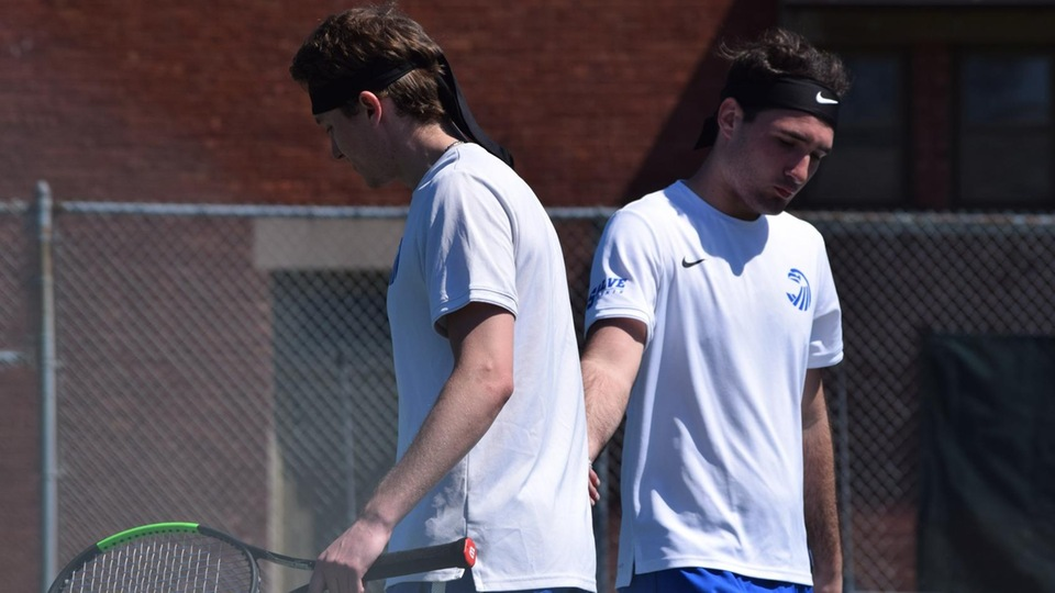 Aaron White (left) and Matthew Newfield in doubles action on Saturday. (Photo by Jennie O'Connell)