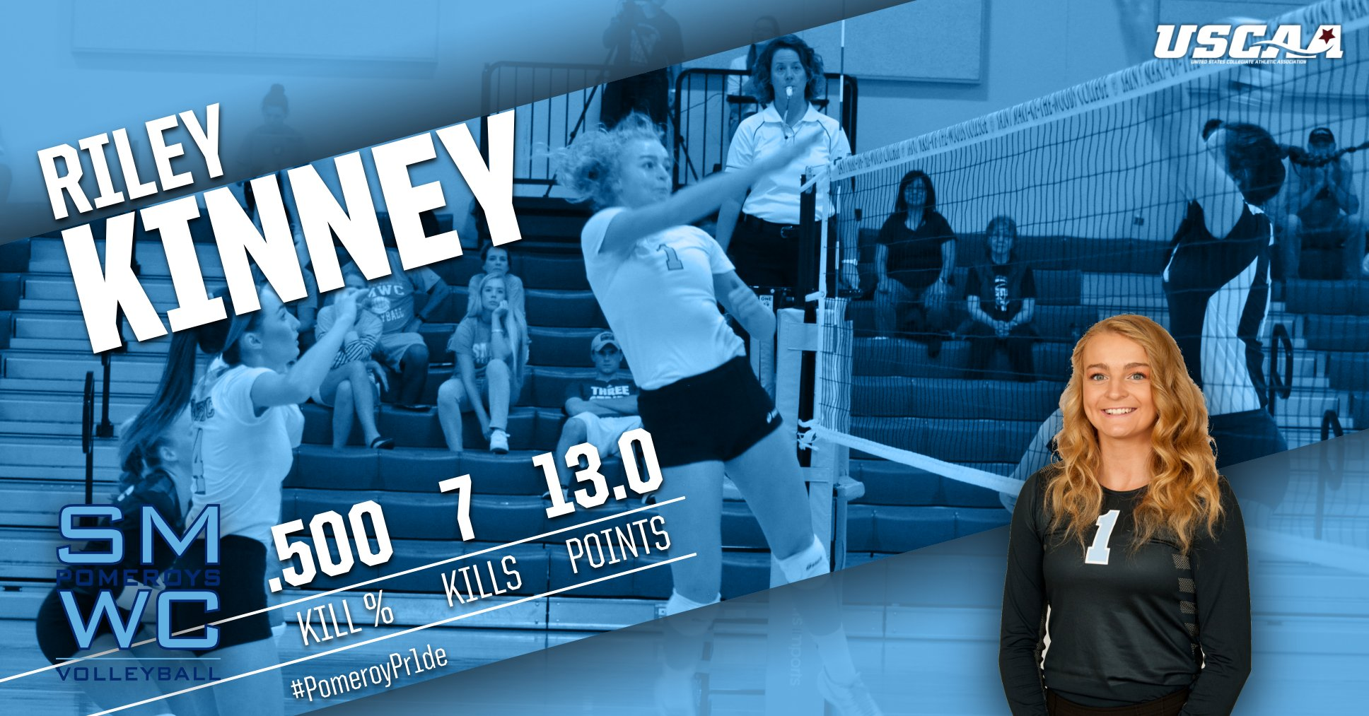 Perfect Start for the Pomeroys at the SMWC Volleyball Classic; Kinney Hits .500 % with Seven Kills