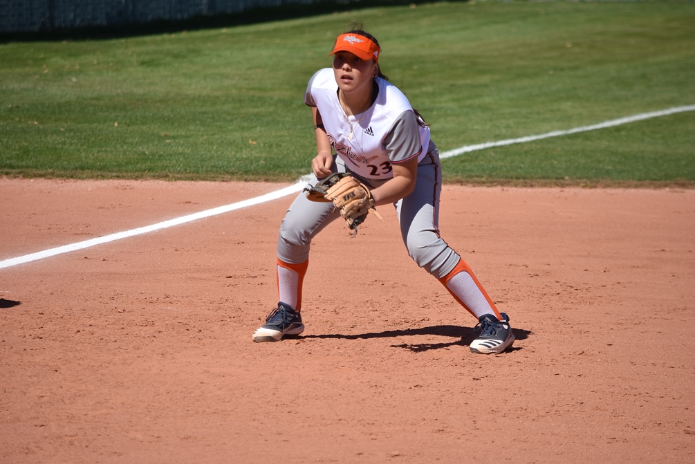 Freshman Isabella Escobar went 3 for 4 with three RBIs in the second game but the Aztecs softball team dropped two games to Central Arizona College 1-0 and 8-4. The Aztecs fell to 8-7 overall and in ACCAC conference play. Photo by Ben Carbajal