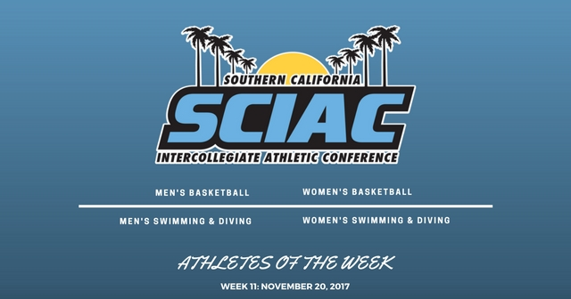 SCIAC Athletes of the Week: November 20, 2017