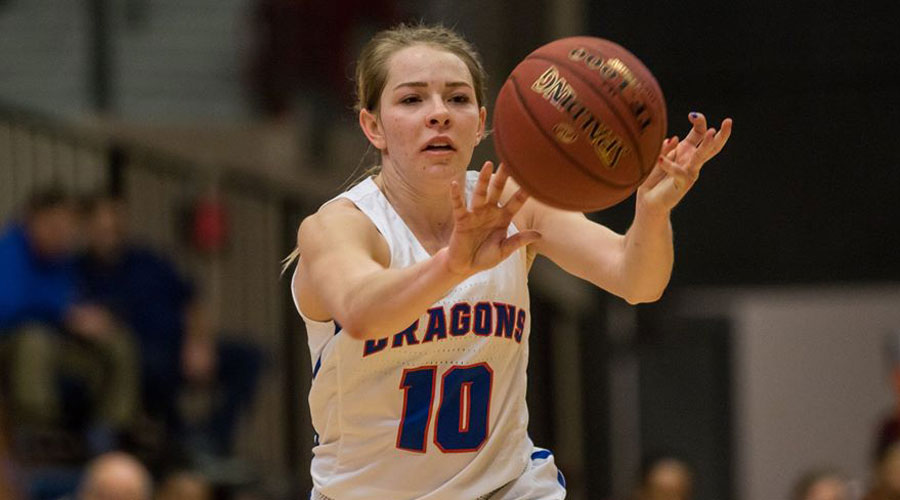 Sara Cramer had 12 points with three 3-pointers to lead the No. 18 Blue Dragons to a 56-53 victory over Independence on Wednesday in Independence. (Allie Schweizer/Blue Dragon Sports Information)