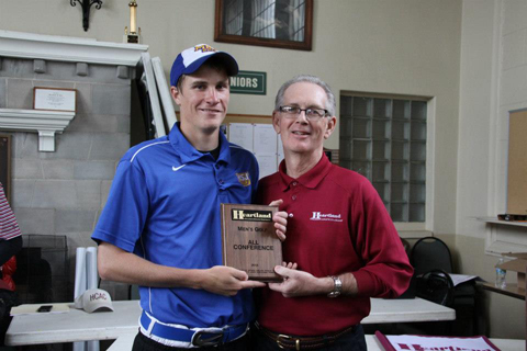 Lions' golfer Matt Stiens and HCAC Commissioner Chris Ragsdale.