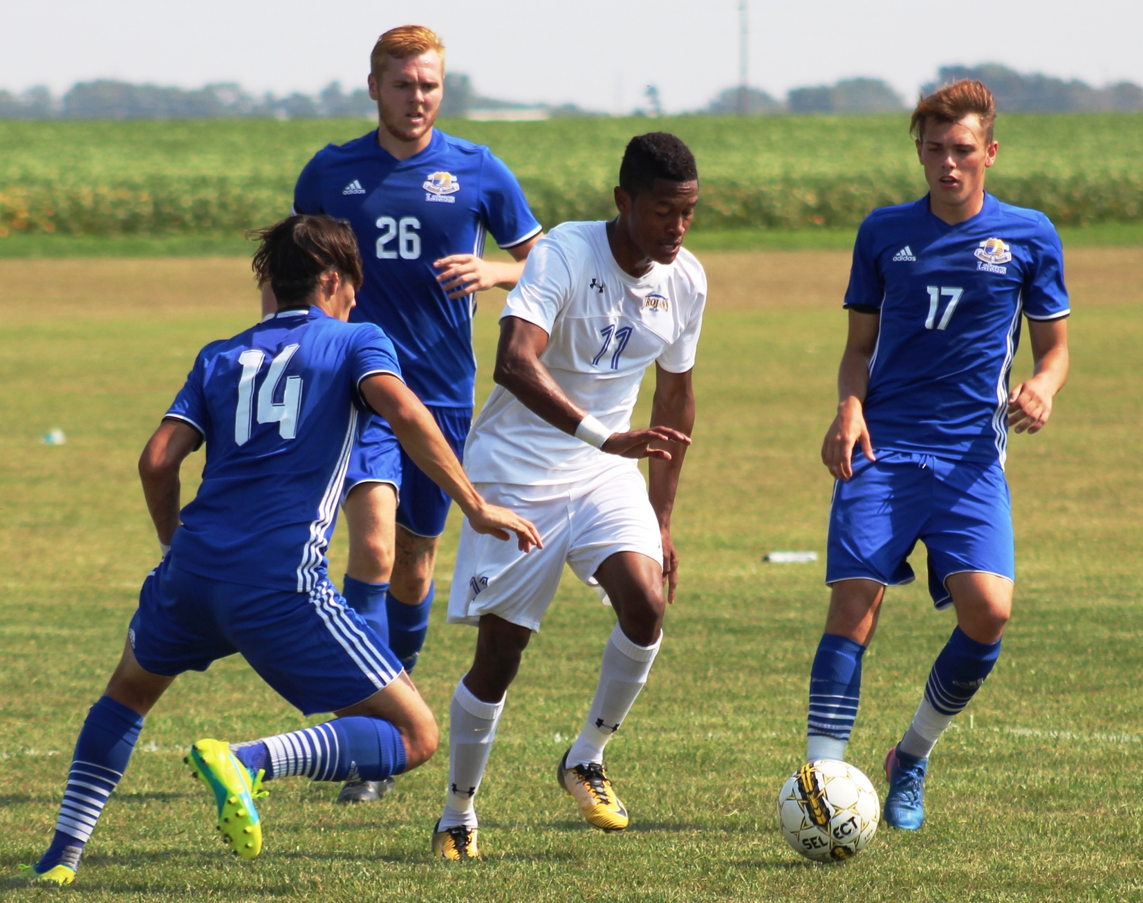 NIACC's Mike Merchant moves the ball downfield in Wednesday's match against Iowa Lakes.