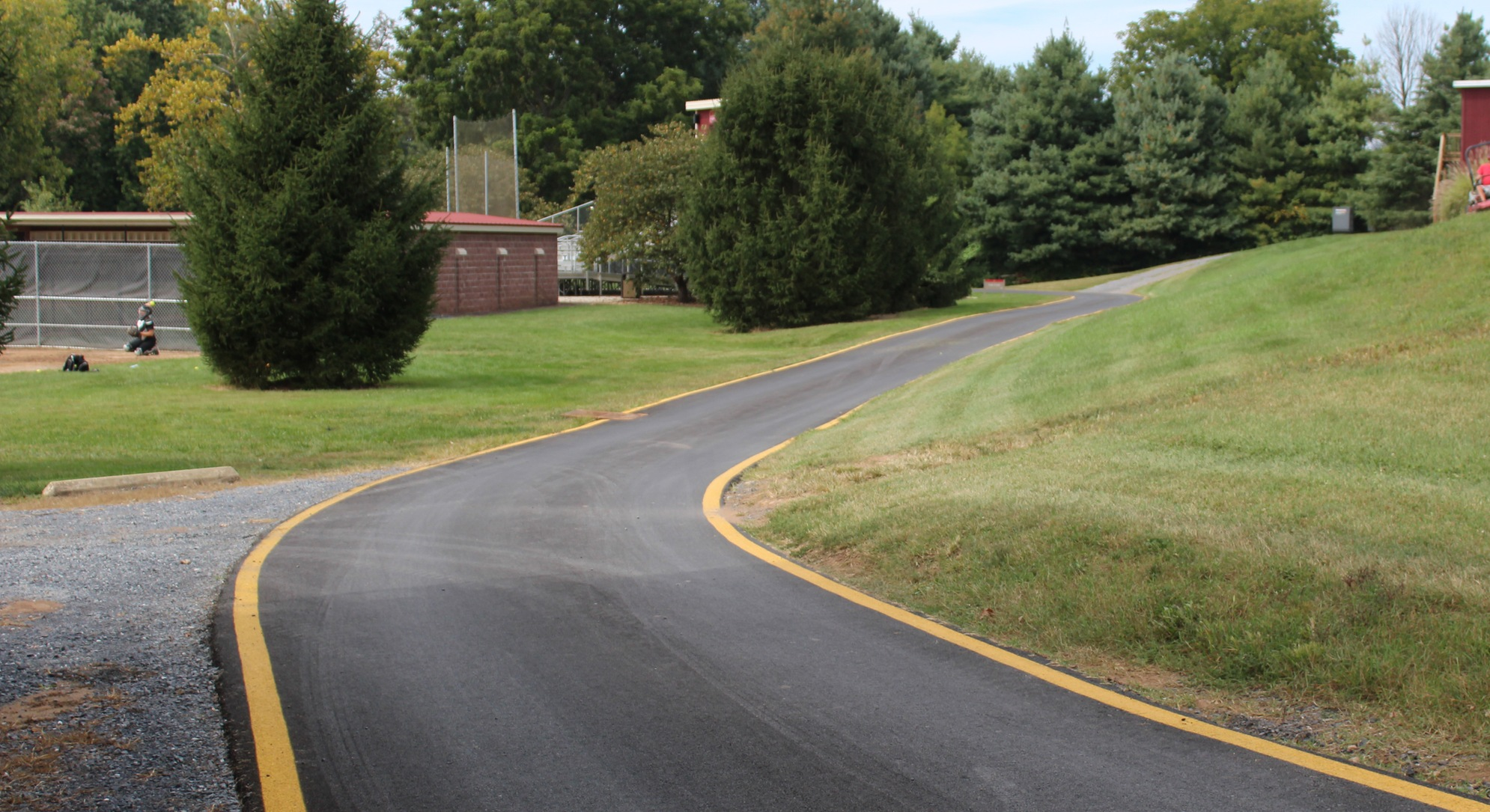 road leading to softball field